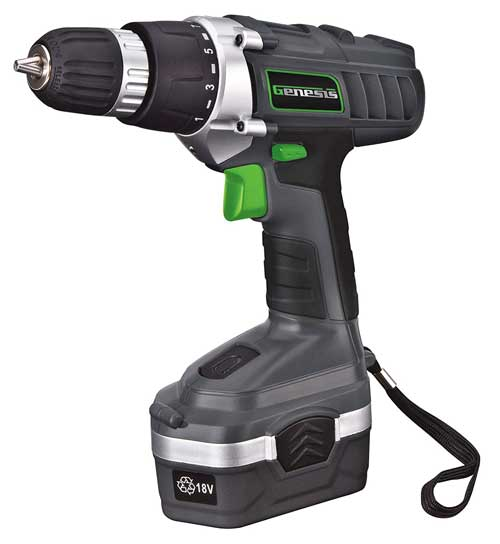 Genesis GCD18BK 18 Volt Cordless Variable Speed Drill/Driver