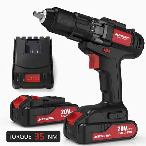 Meterk 20V Cordless Electric Drill Driver